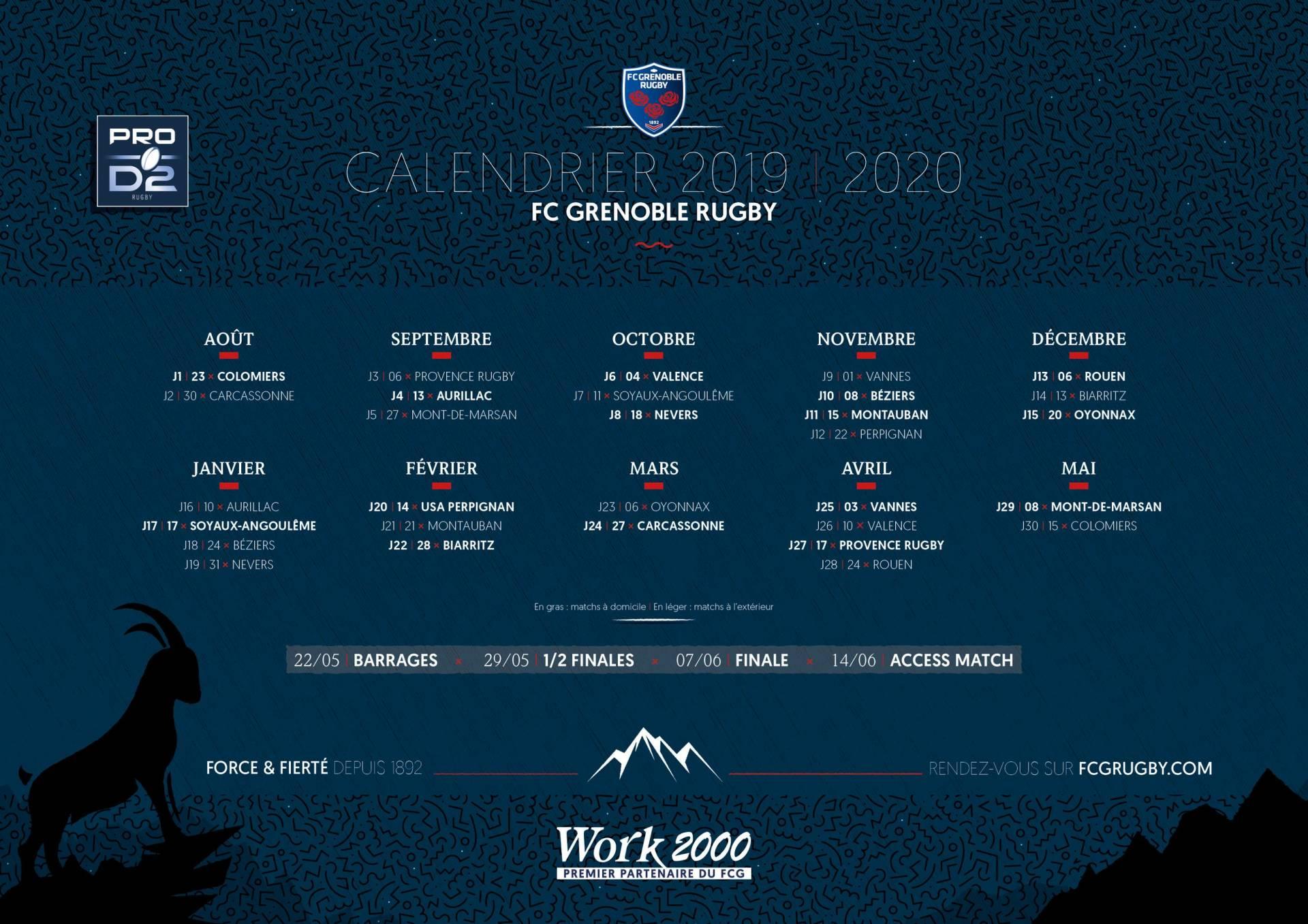 Calendrier Top 14 Saison 2020 2019.Fcg Fc Grenoble Rugby Le Calendrier De La Saison 2019 2020