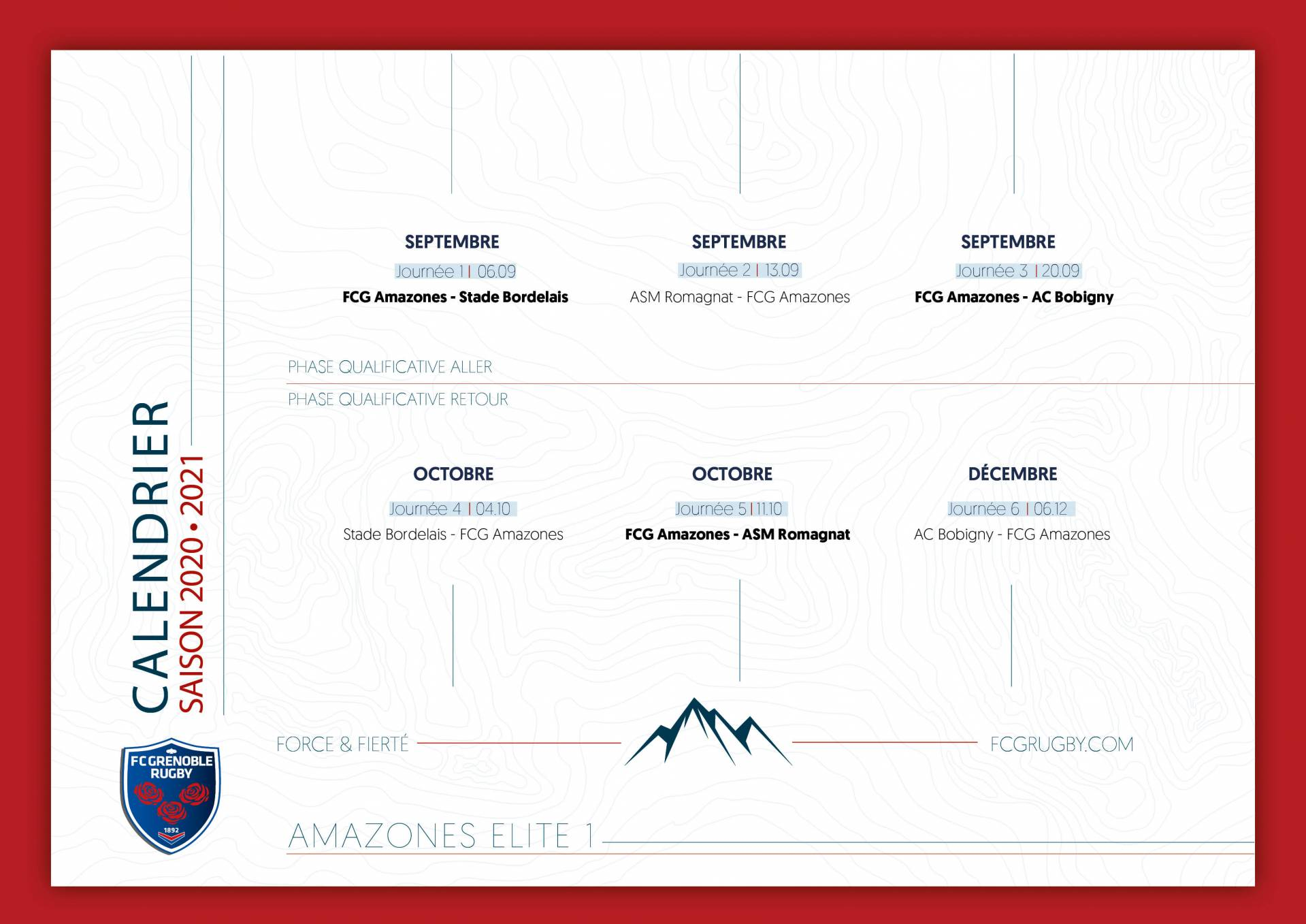 FCG   FC Grenoble Rugby   Le calendrier des Amazones 20/21